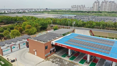 Sinopec Builds China's First Carbon-neutral Gas Station in Jiangsu.