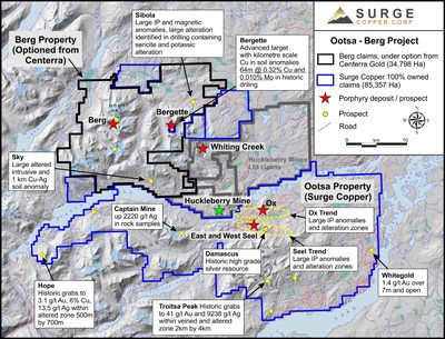 Figure 1. Claim map of the Ootsa-Huckleberry-Berg district highlighting known deposits and prospects.