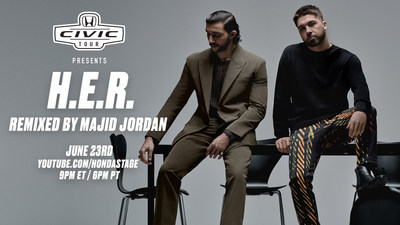"""Honda Civic Tour Gets """"Remixed"""" for June 23 Virtual Concert Event: Featuring Civic Tour Headliner, H.E.R, in Collaboration with R&B Duo Majid Jordan"""